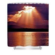 Priest Lake Sunset Heavenly Light Shower Curtain