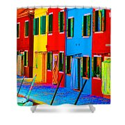 Primary Colors Of Burano Shower Curtain