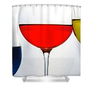 Primary Colors In Glass Shower Curtain