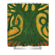 Primitive Tree Shower Curtain