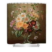 Primulas In A Glass Vase  Shower Curtain
