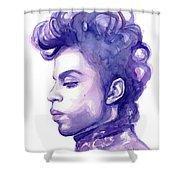 Prince Musician Watercolor Portrait Shower Curtain