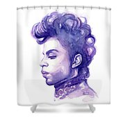 Prince Musician Watercolor Portrait Shower Curtain