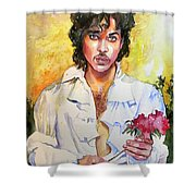 Prince Rogers Nelson Holding A Rose Shower Curtain