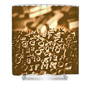 Print Industry Typographic Letters And Numbers Shower Curtain
