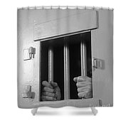 Prisoners Hands Gripping Bars, C.1980s Shower Curtain