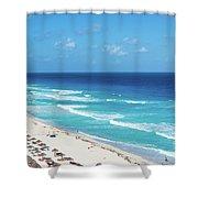 Pristine Beach In Cancun Shower Curtain