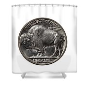 Pristine Buffalo Nickel On White Background  Shower Curtain