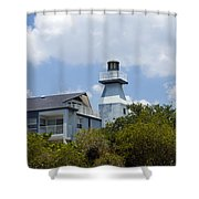 Private Lighthouse On The Indian River Lagoon In  Melbourne Florida Shower Curtain
