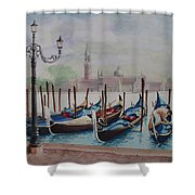 Parking Gondolas In Venice Shower Curtain by Charles Hetenyi