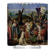 Procession Of Crusaders Around Jerusalem Shower Curtain by Jean Victor Schnetz