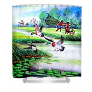 Artistic Painting Photo Flying Bird Handmade Painted Village Art Photo Shower Curtain