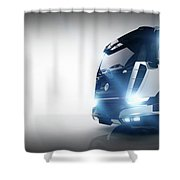 Professional Cargo Delivery Truck With Long Trailer. Banner Shower Curtain