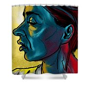 Profile In Blue Shower Curtain