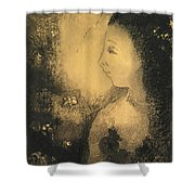 Profile Of A Woman With Flowers Shower Curtain