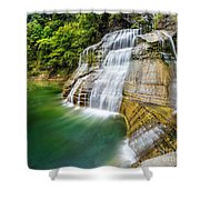 Profile Of The Lower Falls At Enfield Glen Shower Curtain