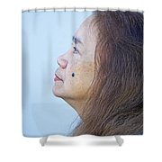 Profile Portrait Of A Lovely Filipina With A Mole On Her Cheek   Shower Curtain