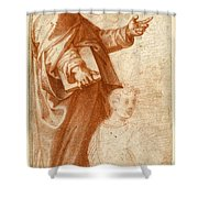 Profile Study Of A Standing Saint Holding A Book With Subsidiary Studies Of Three Additional Figures Shower Curtain