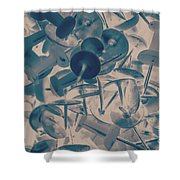Projected Abstract Blue Thumbtacks Background Shower Curtain