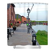 Promenade And Boats At Barton Marina Shower Curtain