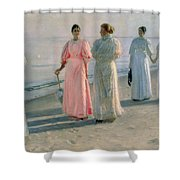 Promenade On The Beach Shower Curtain by Michael Peter Ancher