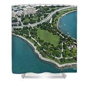 Promontory Point In Burnham Park In Chicago Aerial Photo Shower Curtain