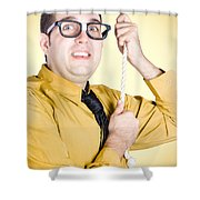 Promoted Employee Climbing Up Corporate Rope Shower Curtain