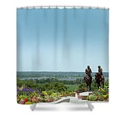 Prophets Last Ride  Bronze Monument Of Hyrum And Joseph Smith In Nauvoo Illinois Shower Curtain