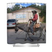 Prospector Re-enactor With Burro Passing Rose Bush Museum Sign Tombstone  Arizona 2004 Shower Curtain
