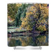 Prosser - Autumn Reflection With Geese Shower Curtain