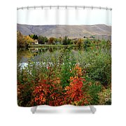 Prosser Autumn River With Hills Shower Curtain by Carol Groenen