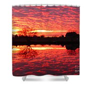Dramatic Orange Sunset Shower Curtain