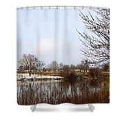 Prosser Winter - Brown And Burgundy Shower Curtain