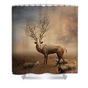 Deer Warm Tone Shower Curtain