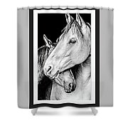 Protection In Black And White Shower Curtain