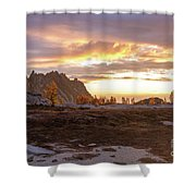 Prusik Peak Golden Cloudscape Shower Curtain