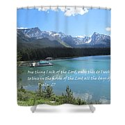 Psalm 27 With Maligne Lake Shower Curtain by Linda Feinberg