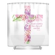 Psalm 46 5 Cross- Art By Linda Woods Shower Curtain