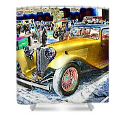 Psychedelic 1930 Jaguar Ss1 At London Classic Car Show 2015 Shower Curtain
