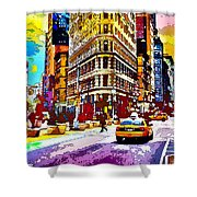 Psychedelic Flatiron Surroundings Shower Curtain