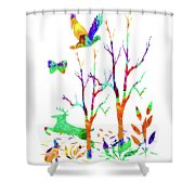 Psychedelic Forest Shower Curtain