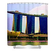 Psychedelic Marina Bay Sands Hotel Singapore Shower Curtain