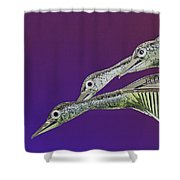 Psychedelic Metal  Sculpture Of Three Mallard Ducks Flying Shower Curtain