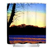Psychedelic Sunrise On The Delaware River Shower Curtain