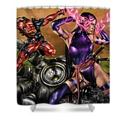 Psylocke And Deadpool Shower Curtain by Pete Tapang