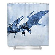 Pterodactyl-blue Shower Curtain