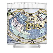 Ptolemaic World Map, 1493 Shower Curtain