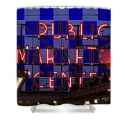 Public Market Checkerboard Shower Curtain