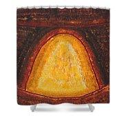 Pueblo Kiva Fireplace Original Painting Shower Curtain