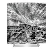 Pueblo Storm Clouds Shower Curtain